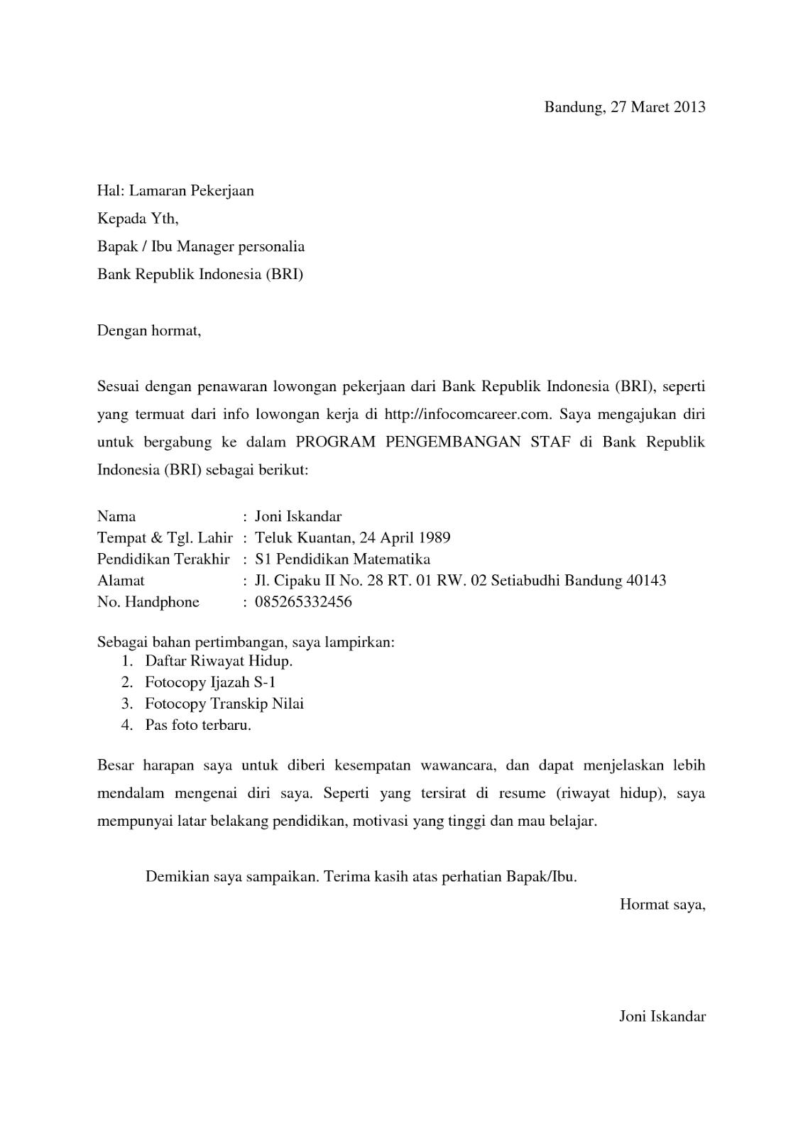 Surat Lamaran Kerja Bank BRI Contoh Lamaran Kerja dan CV