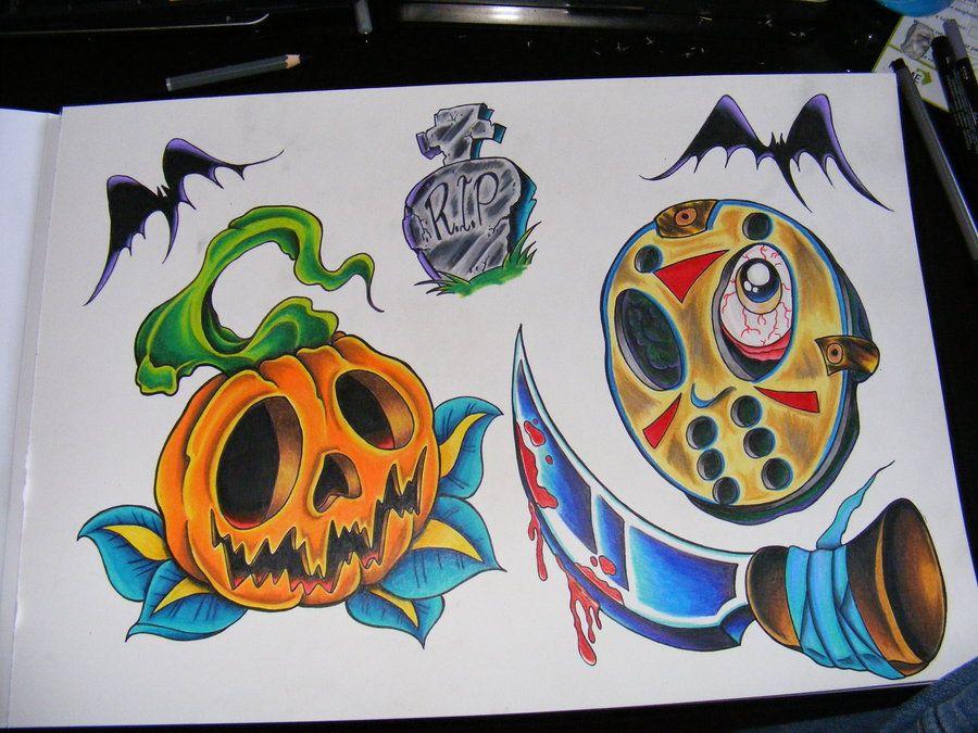 Halloween Horror Tattoo Flash by robspider on DeviantArt