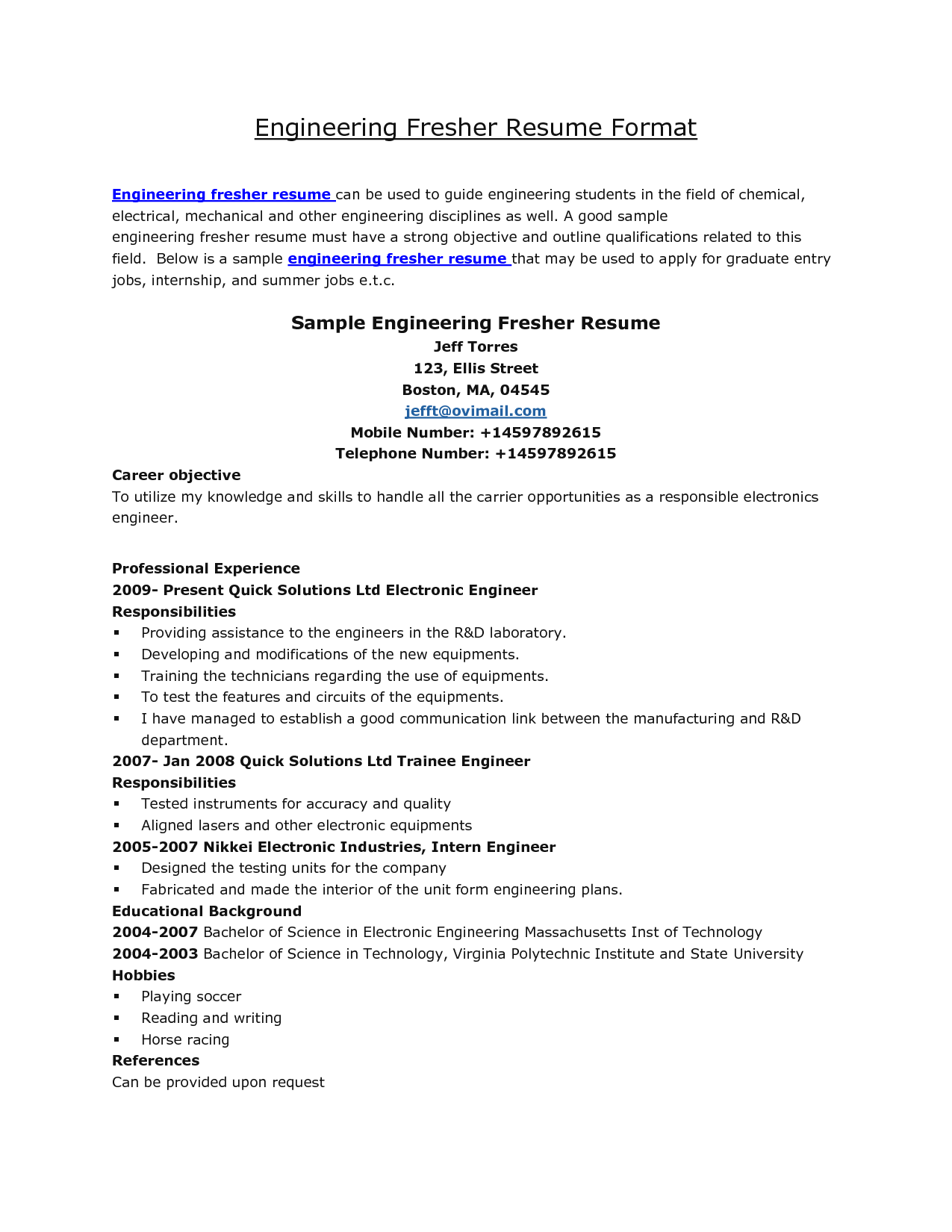 ... Biochemical Engineer Receptionist Cover Letter Electrical. Resume  Format For Engineering Students Http Jobresume Home