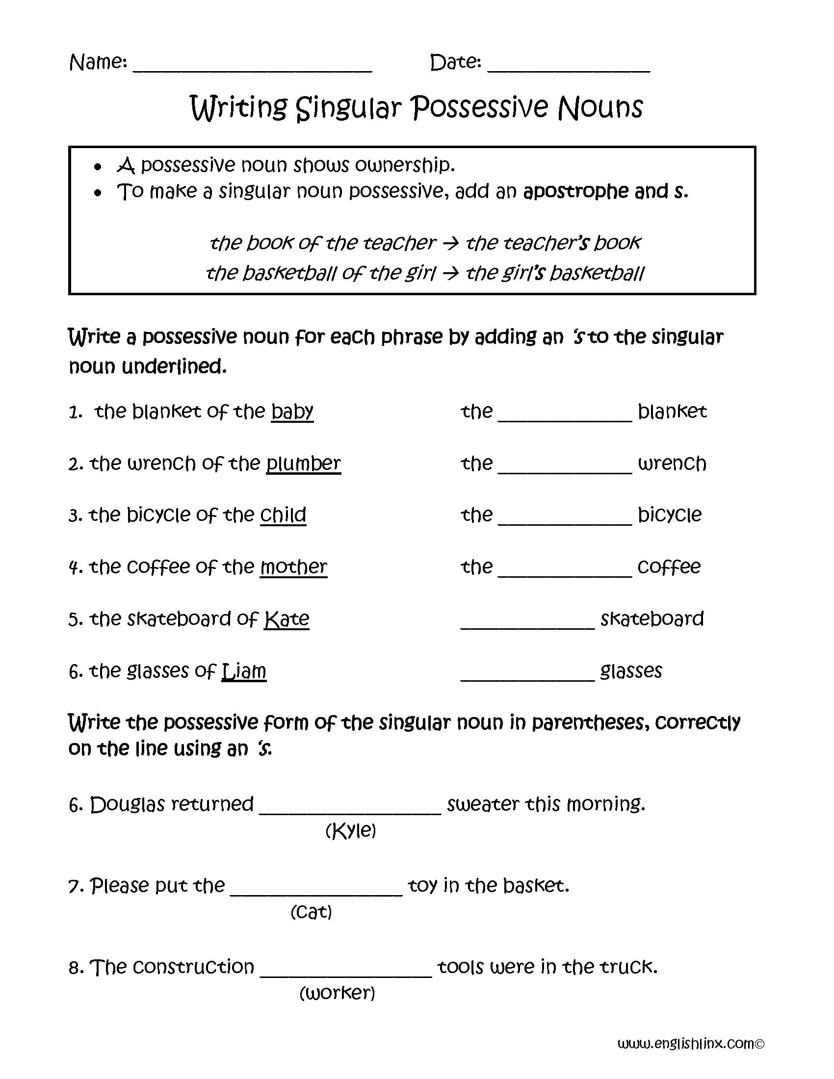 Writing Singular Possessive Nouns Worksheets