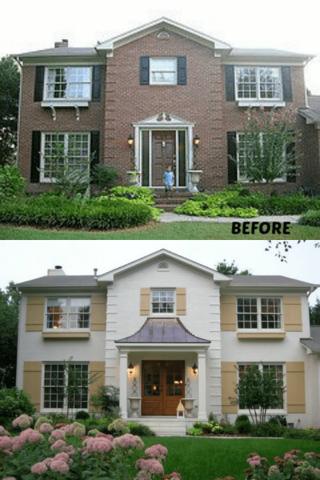 20 Home Exterior Makeover Before And After Ideas Painted Brick Housespainted