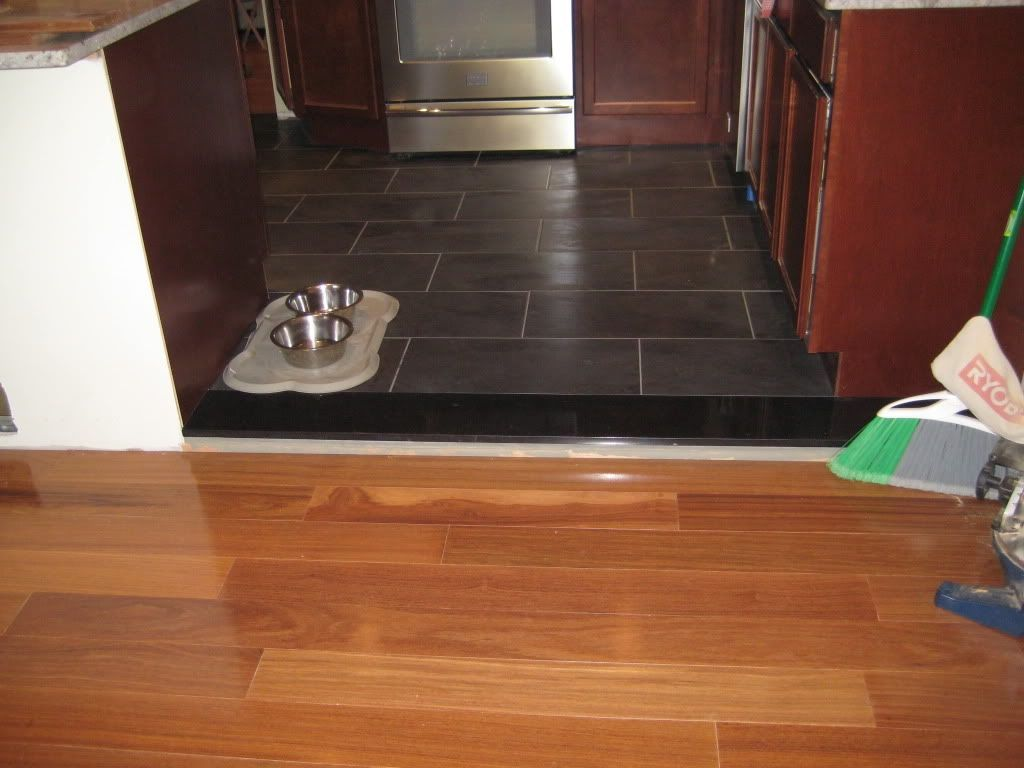 transition between tile and wood floor