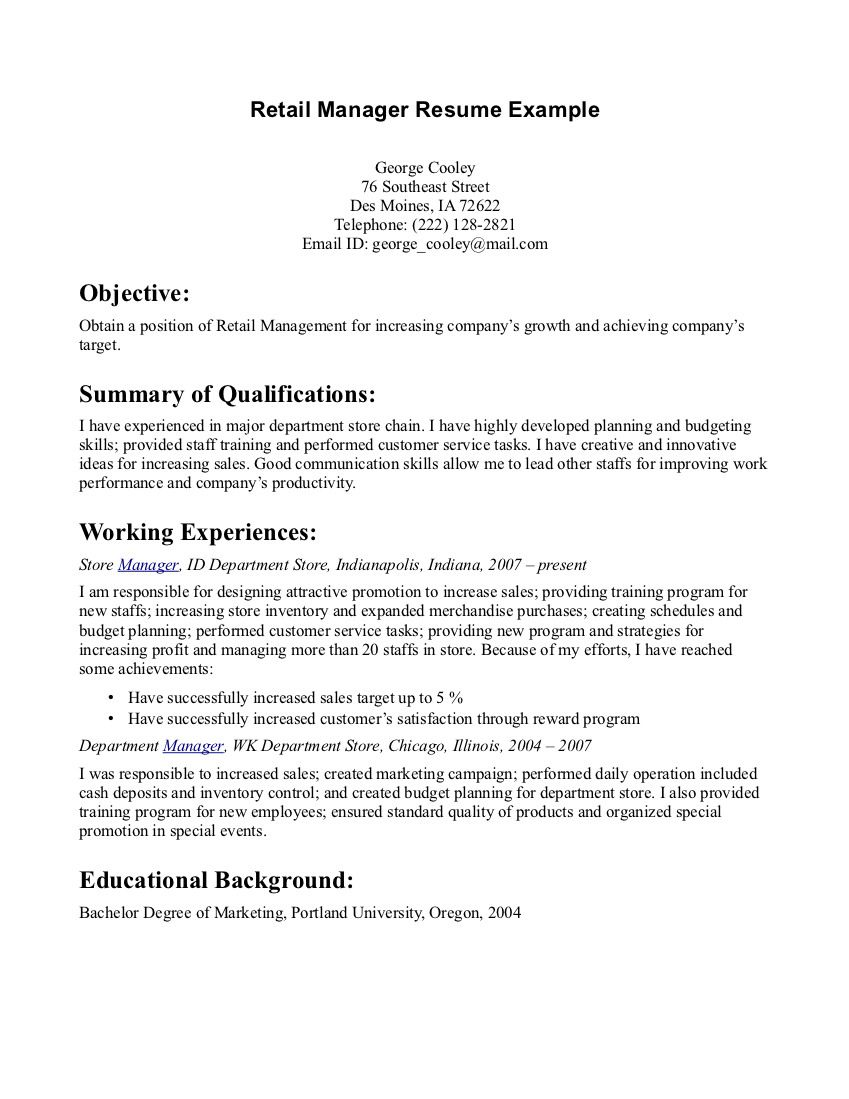Retail Manager Resume Example Retail Manager Resume