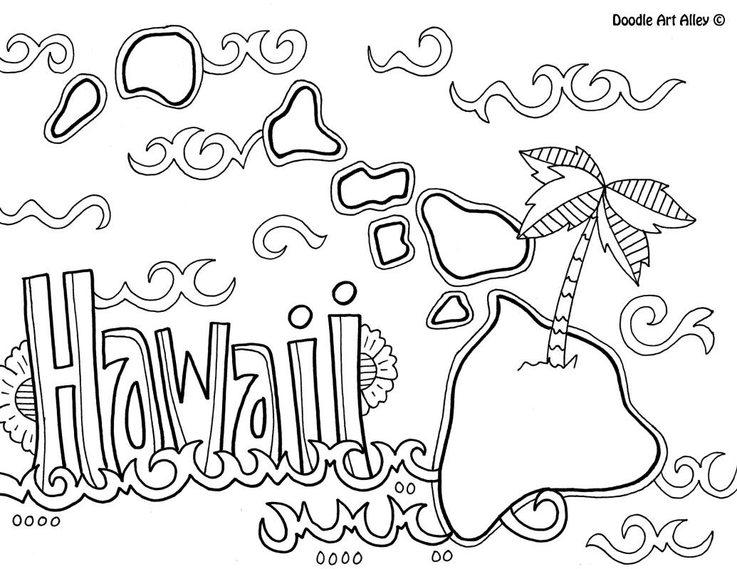 Hawaii Coloring Page By Doodle Art Alley