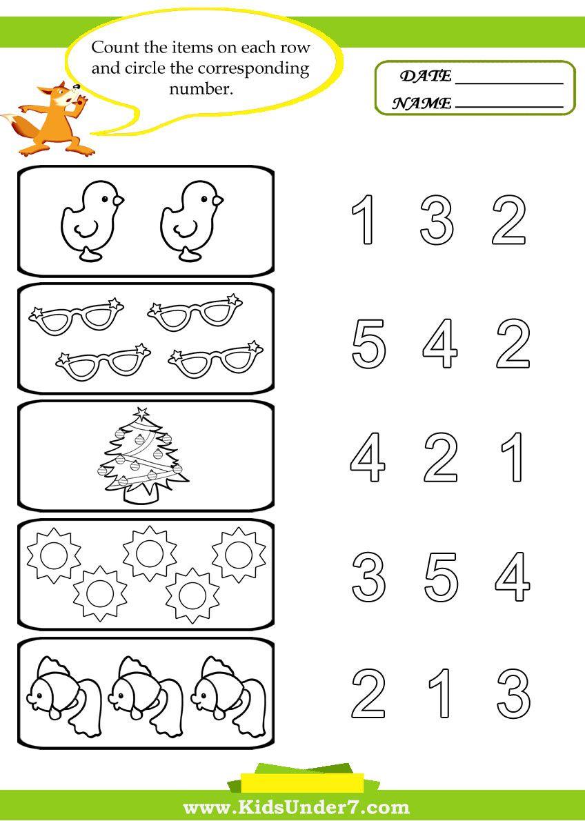 preschool worksheets Kids Under 7 Preschool Counting