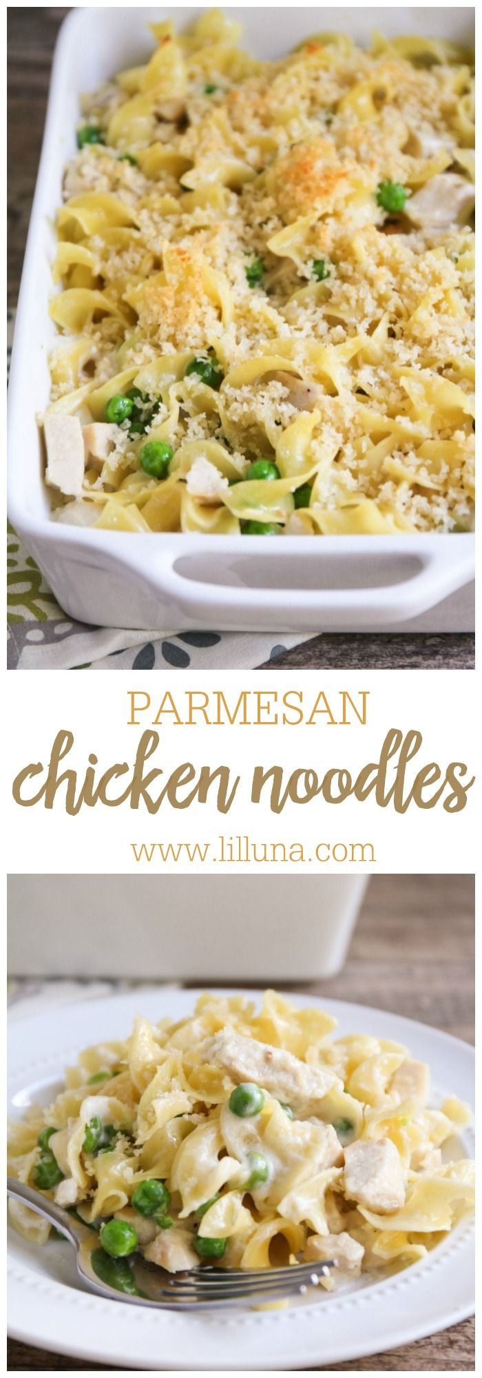 Garlic Parmesan Chicken and Noodles recipe { lilluna.com } So delicious and recipe includes egg noodles, peas, chicken, panko, and