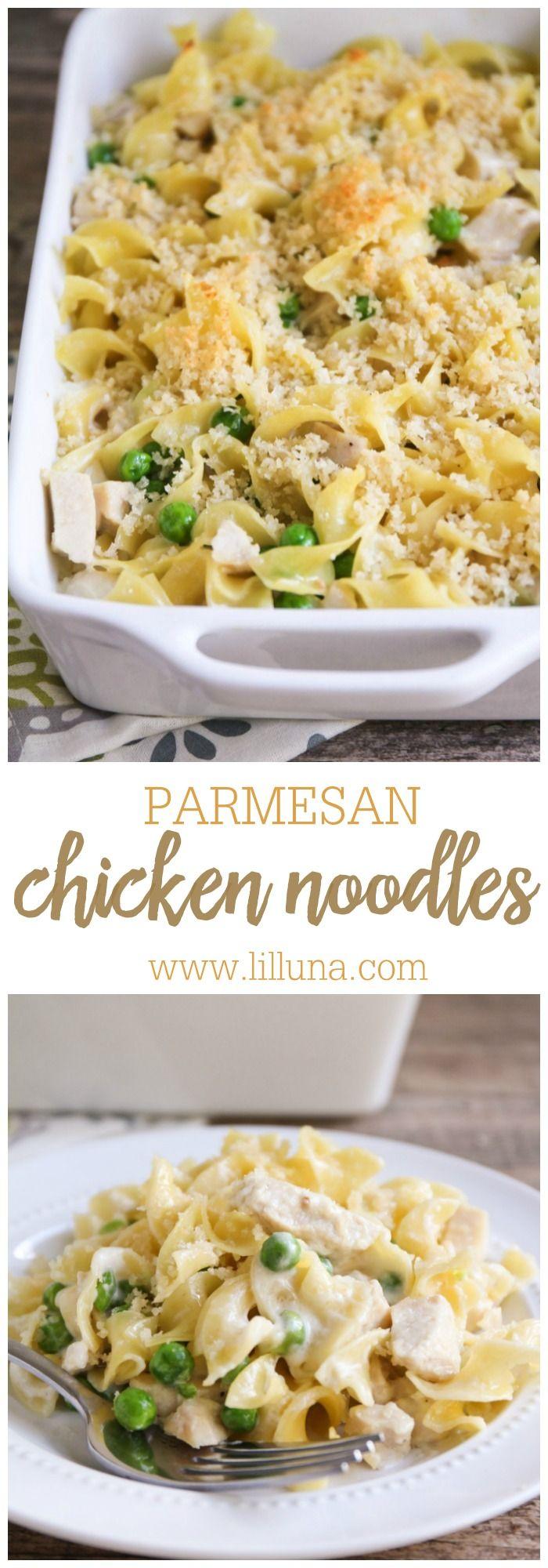 Garlic Parmesan Chicken and Noodles recipe { lilluna.com } So delicious and recipe includes egg noodles, peas, chicken, panko, and
