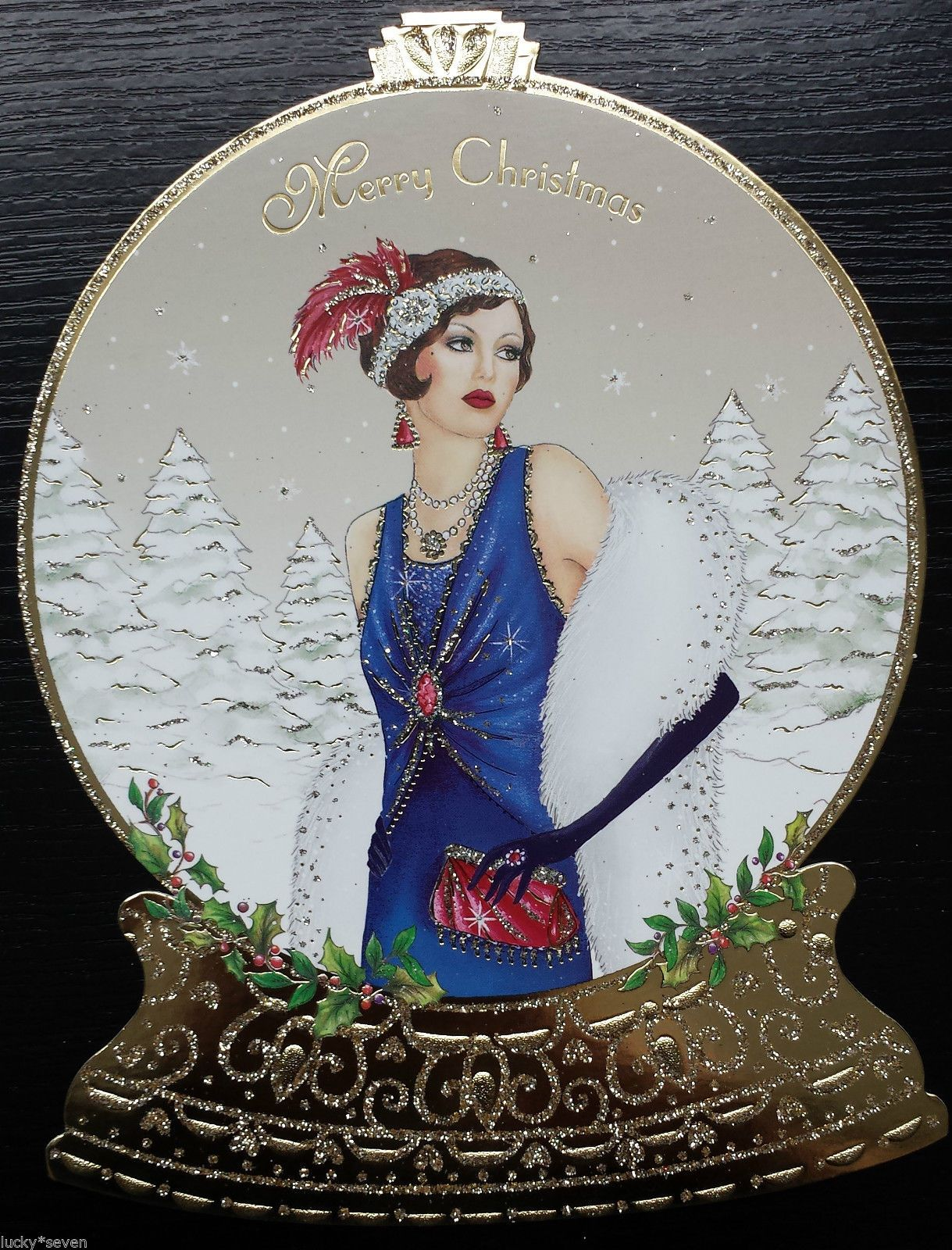 11 Clintons Art Deco Lady Embellished Christmas Cards • £