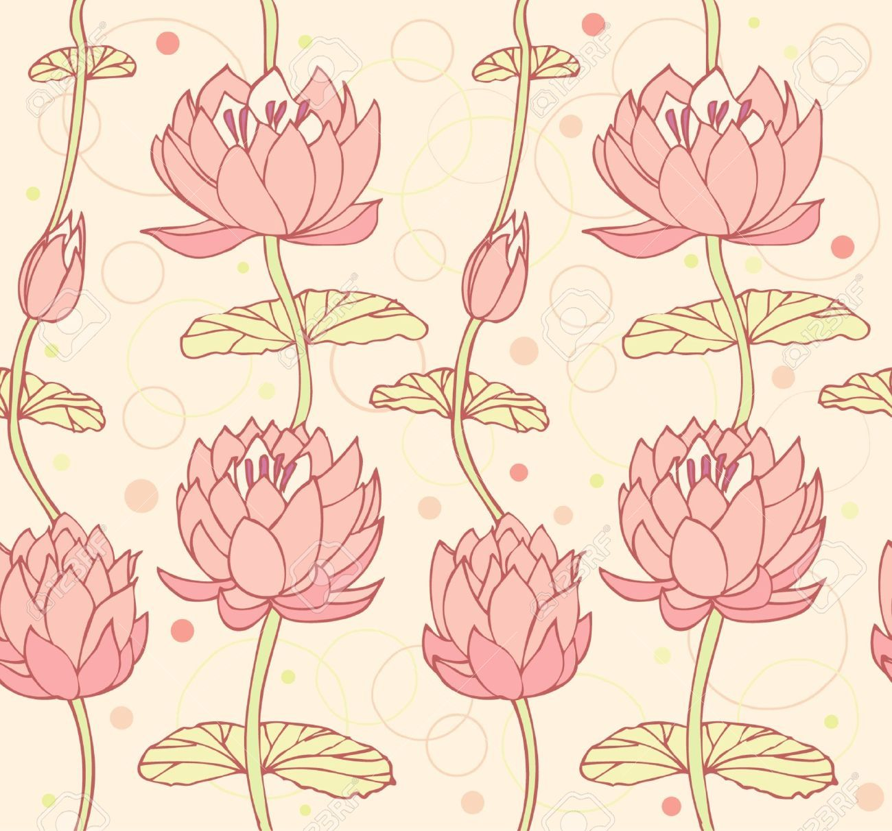 Lotus Background Floral Pattern With Water Lilies Seamless