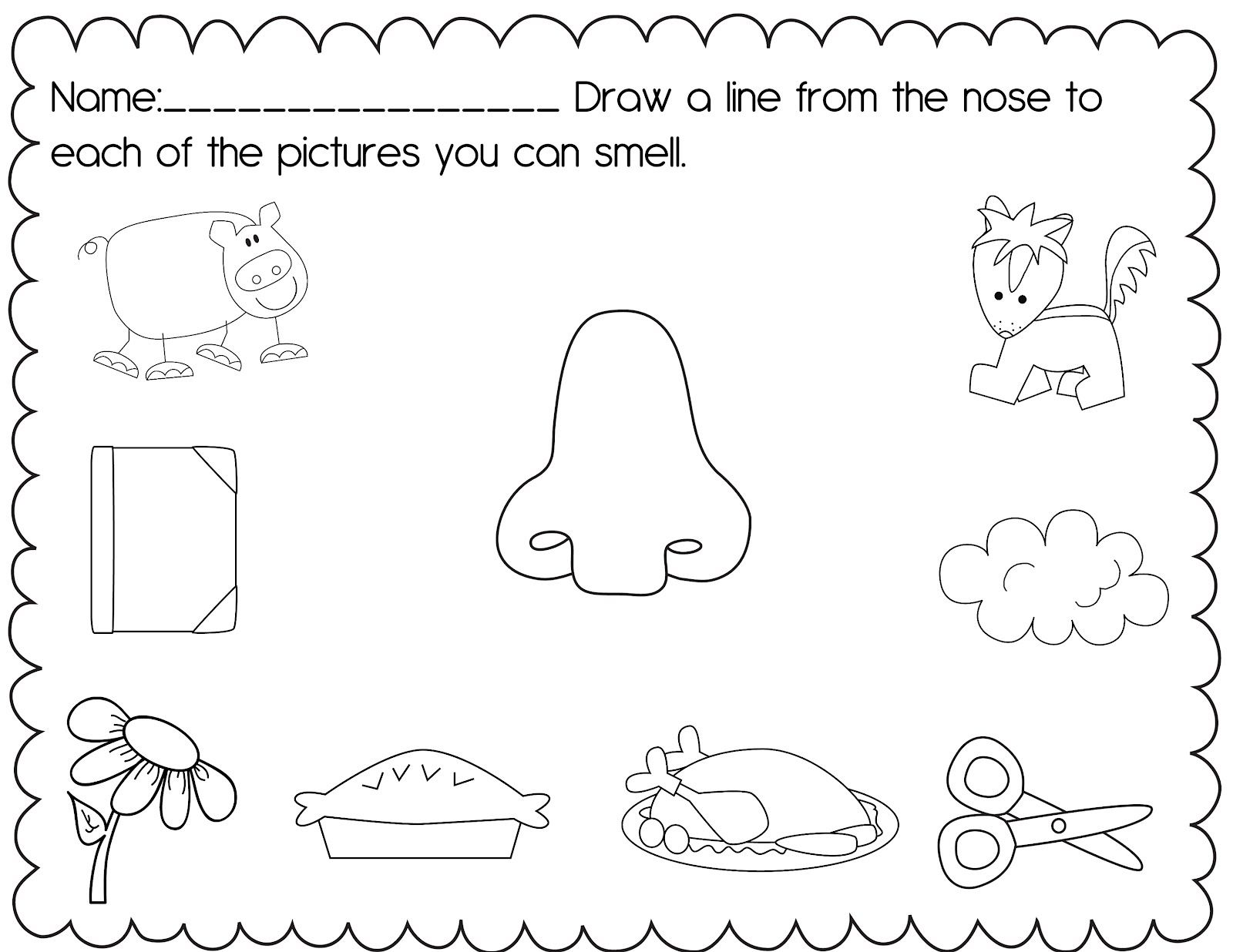 5 Senses Worksheets For Kindergarten