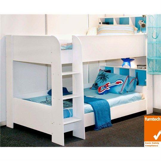 Trindad King Single Bunk Bed White Beds Kids Bedroom Furniture