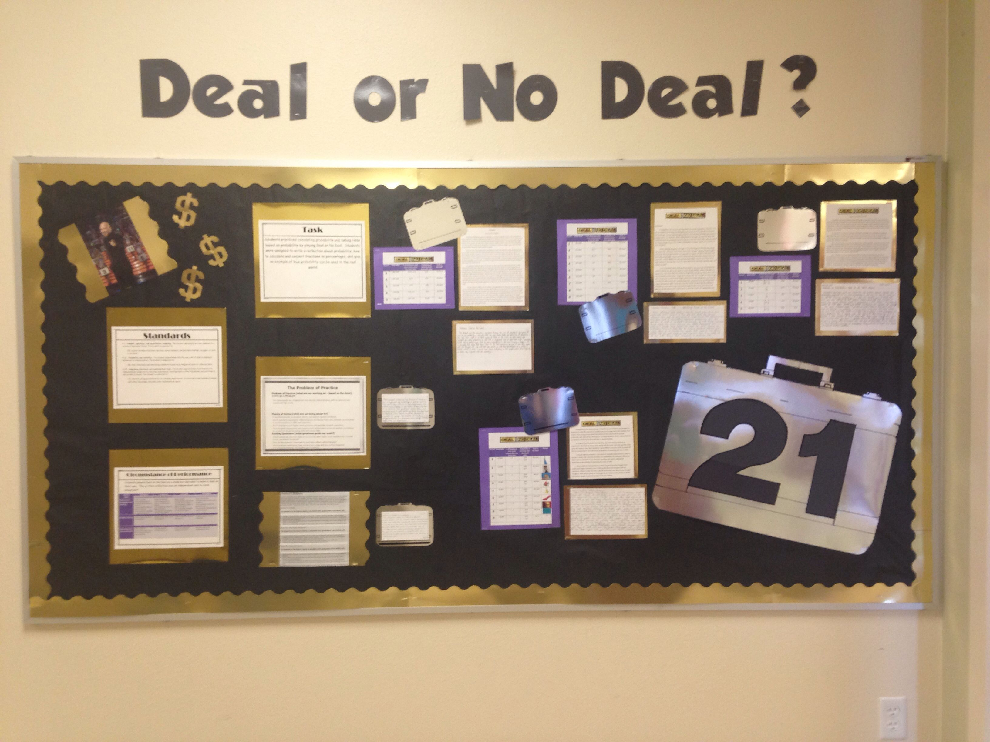 Deal Or No Deal Bulletin Board Middle School Math