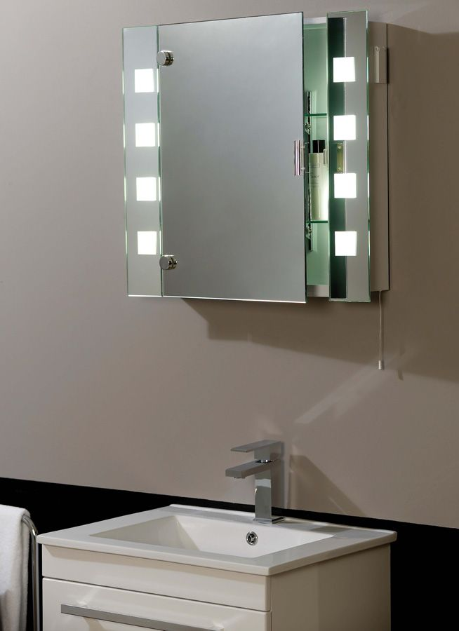 bathroom mirror with a cabinet and lights | mirrors | pinterest