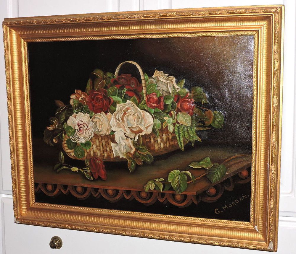 Antique VICTORIAN WHITE & Red ROSES in Basket Oil Painting