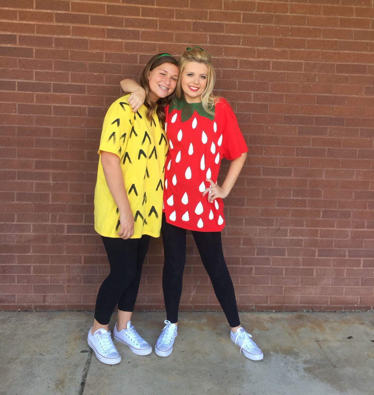 Fruit group day costume diy strawberry pineapple halloween