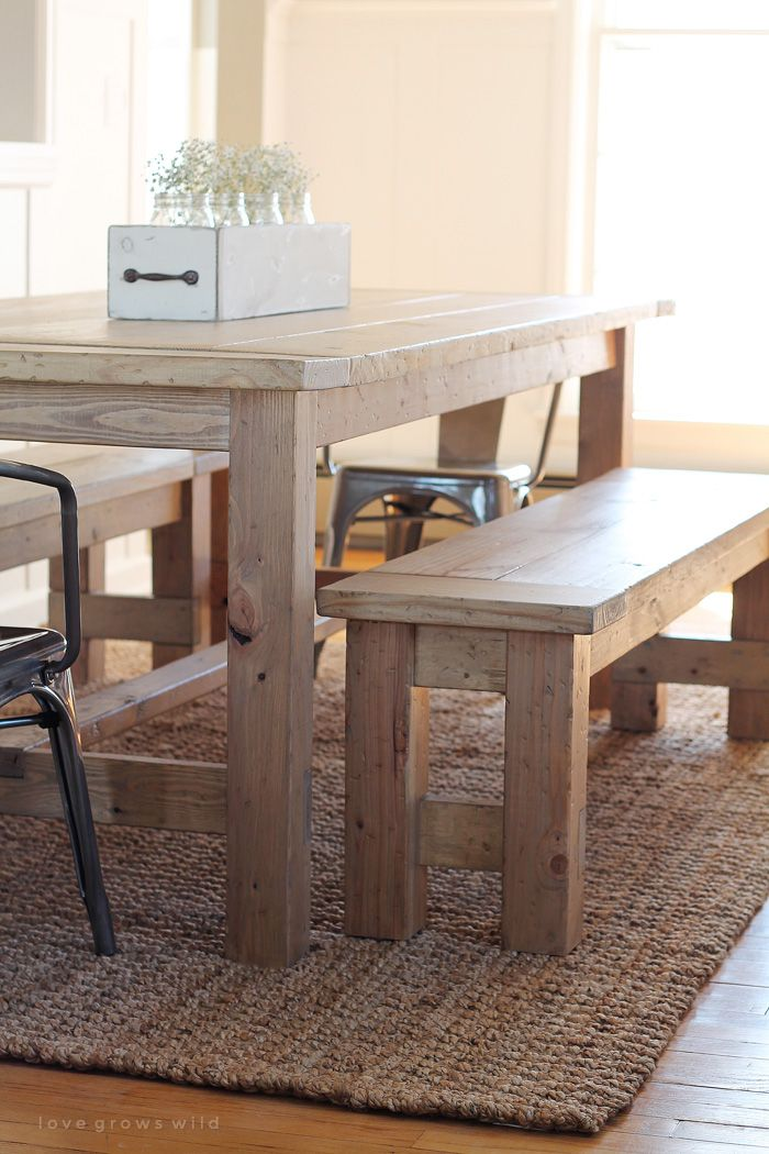 Learn how to build an easy DIY Farmhouse Bench perfect