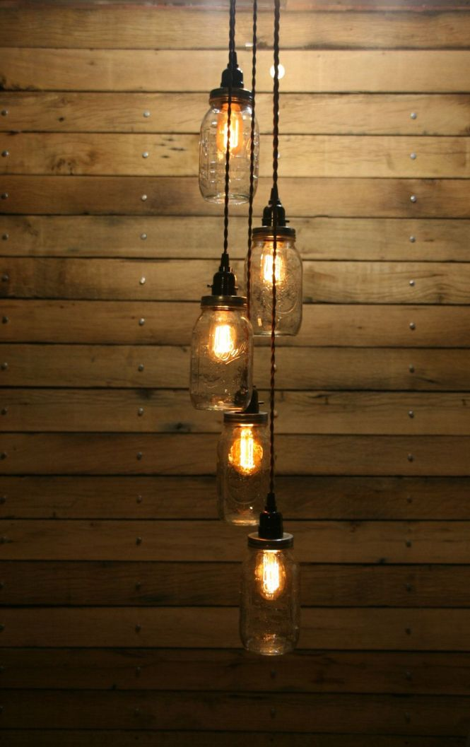 5 Clear Mason Jar Hanging Chandelier Lights These Are All Ball Quart Jars