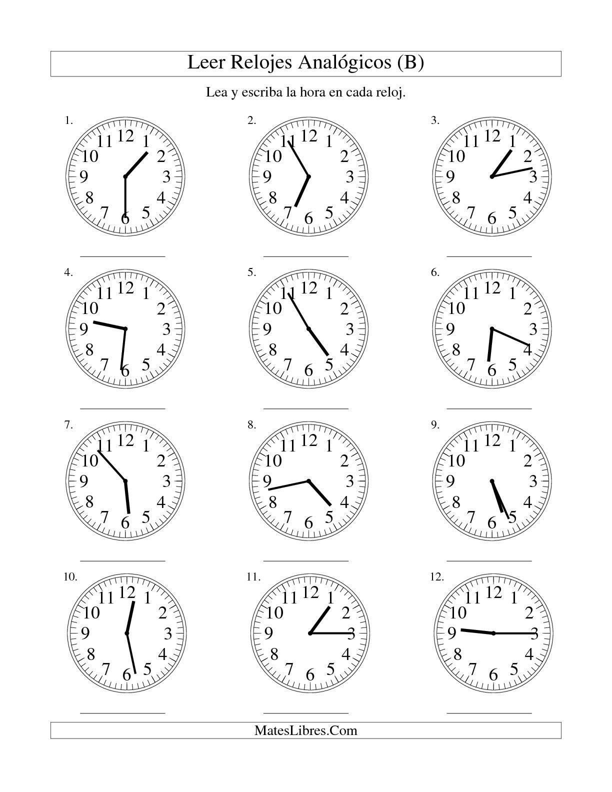 La Hoja De Ejercicios De Matematicas De Leer La Hora En Un