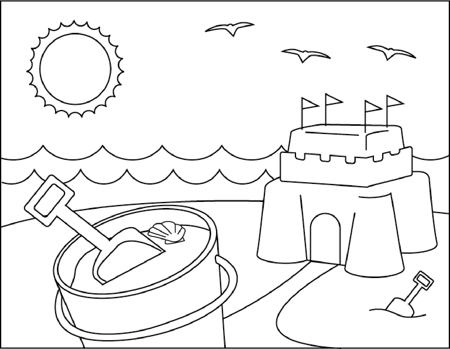 Sand Castle On Beach Summer Coloring Picture For Kids