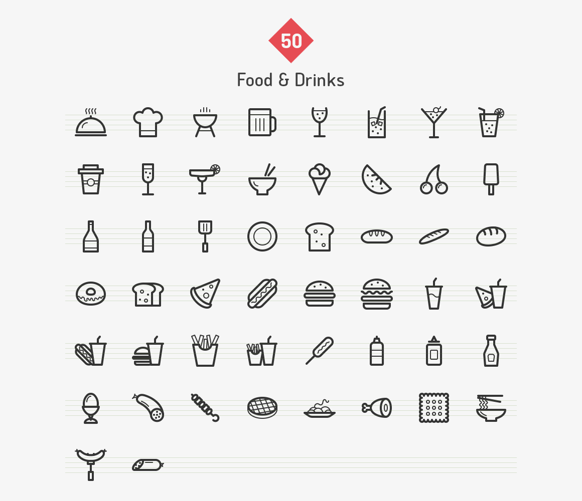 Food & Drinks Line Icons by Dreamstale on Creative Market