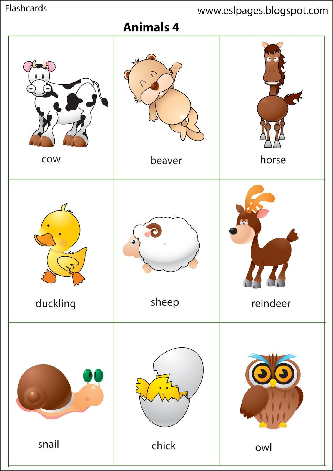 Esl Pages Animals Flashcards and pictures like that