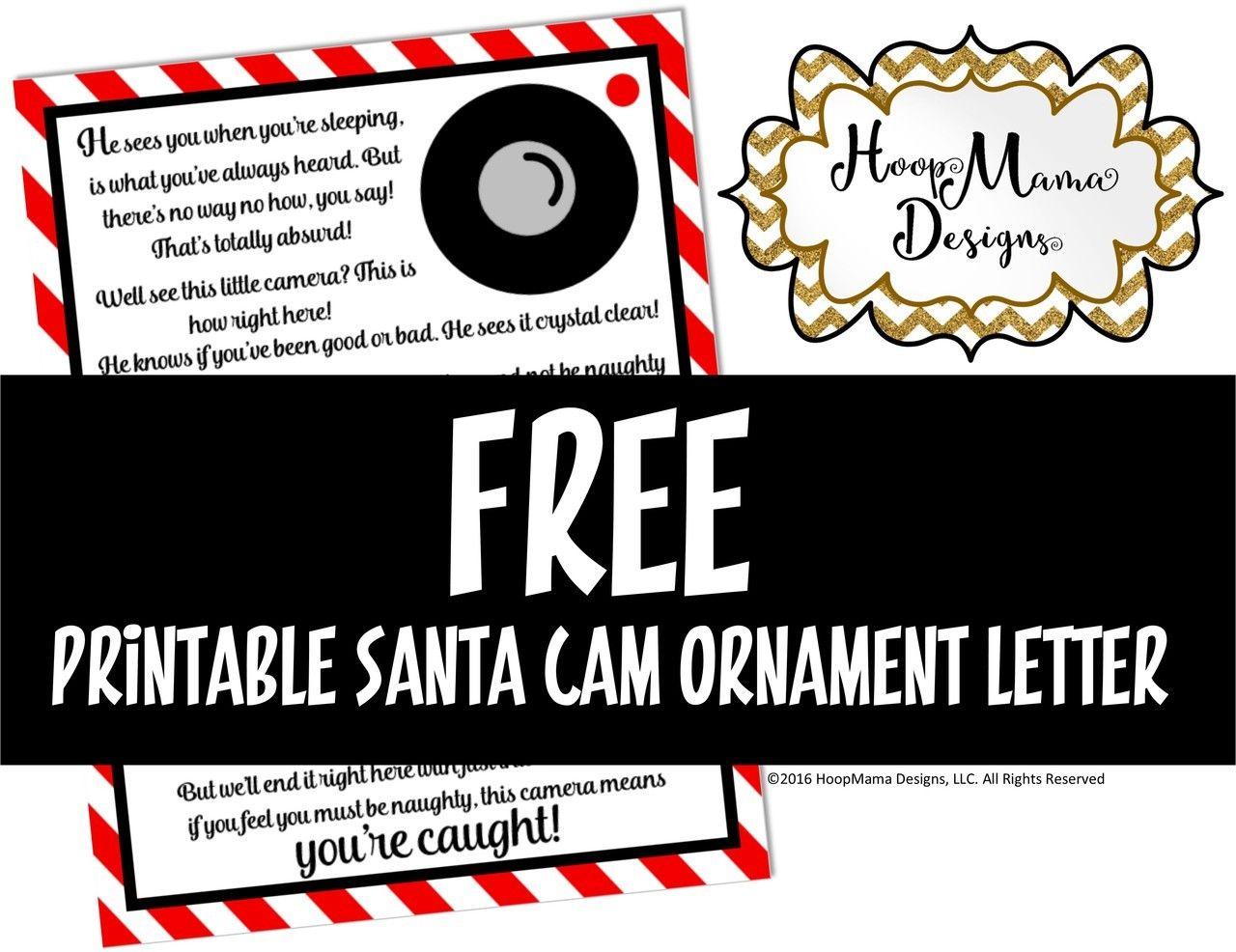 HoopMama Designs, LLC Free Printable Santa Cam Letter