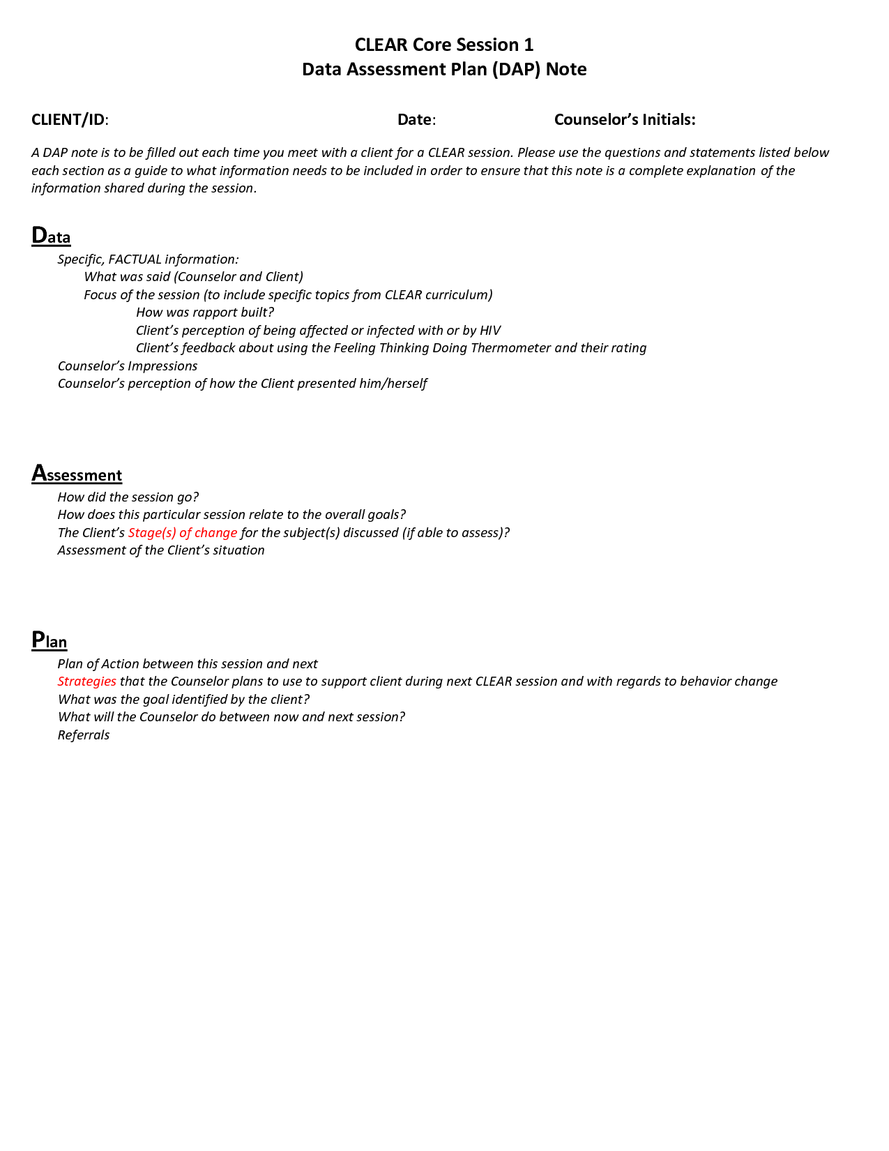 Dap Counseling Notes Template