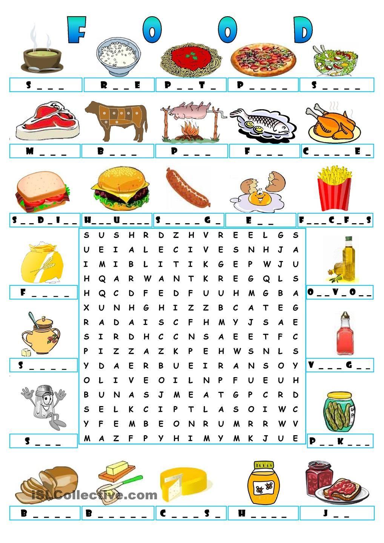 FOOD WORDSEARCH Teaching the kids ESL/EFL Pinterest