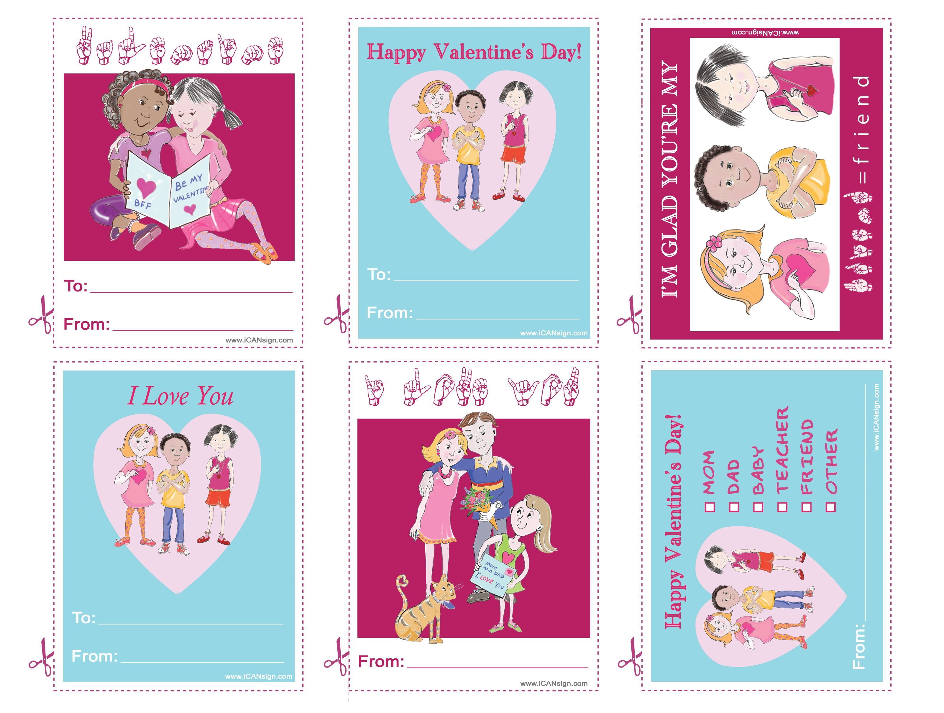 Printable Valentine S Day Cards That Say I Love You In American Sign Language Asl Activities