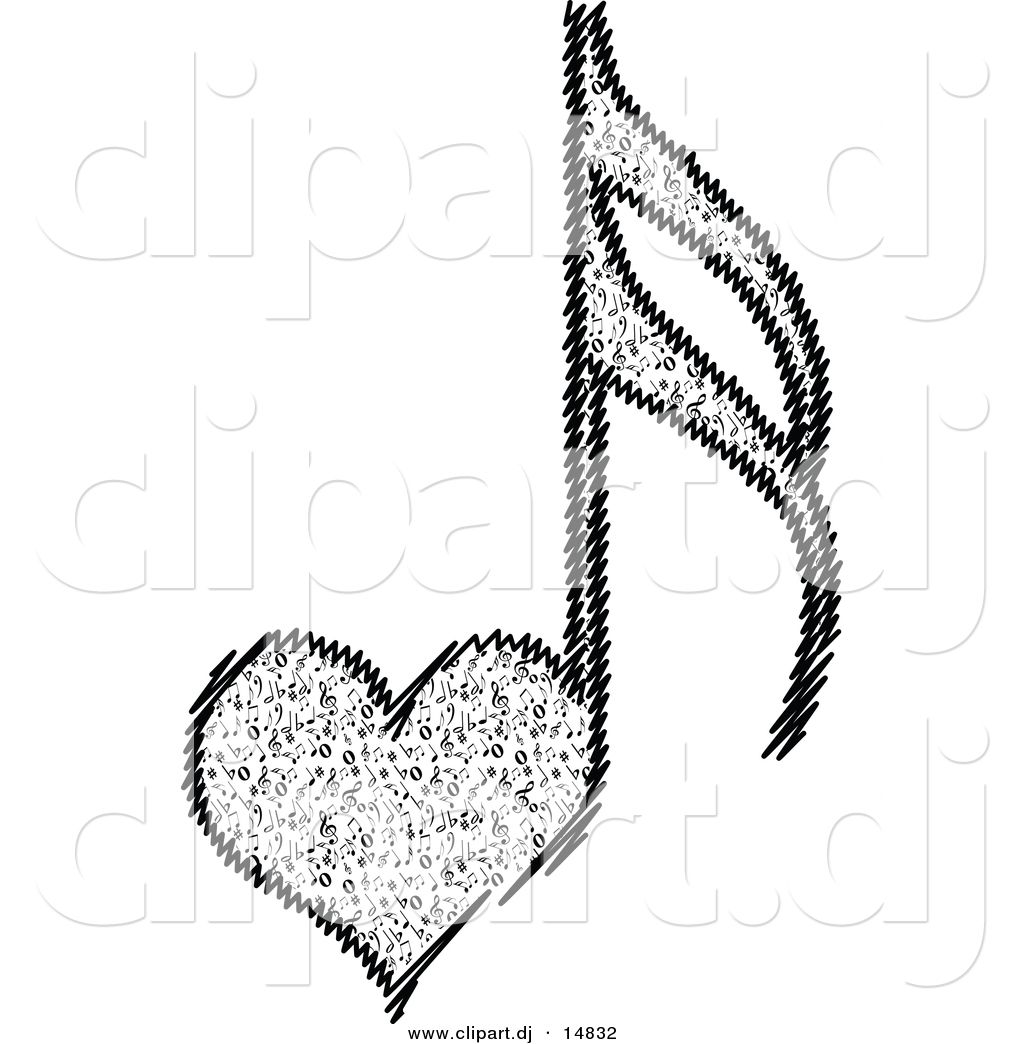 Vector Clipart Of A Love Heart Music Notes