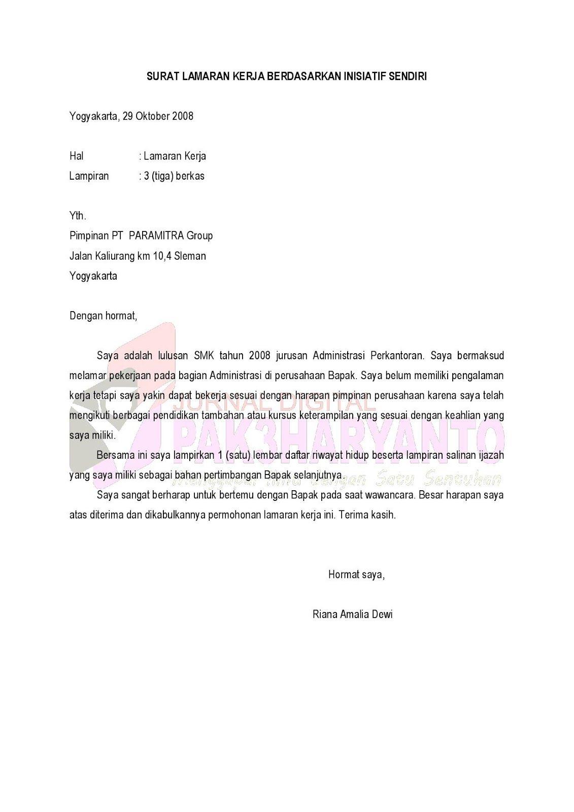 contoh surat permohonan magang pribadi, contoh cv magang
