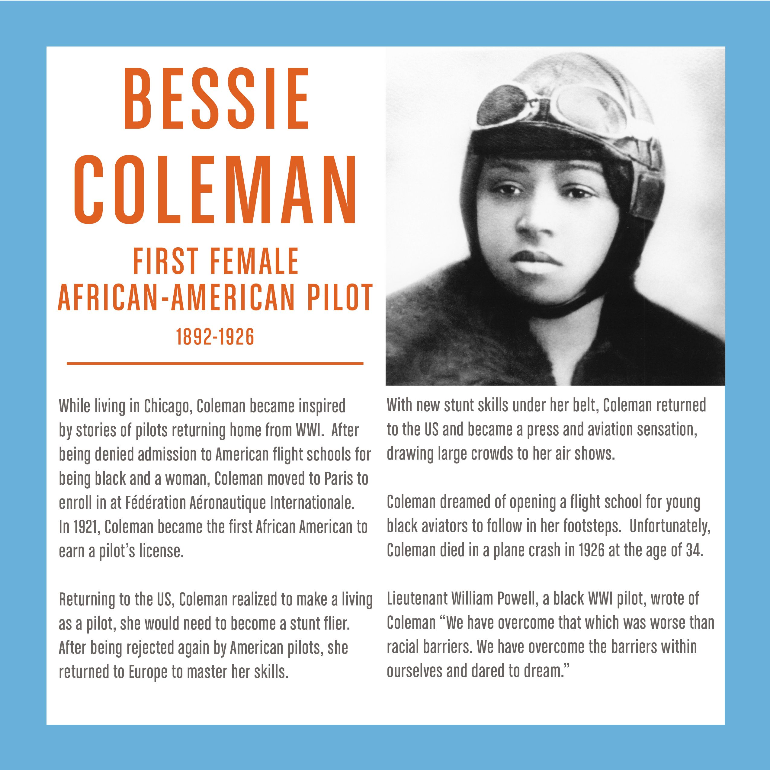 Washington Stem Bessie Coleman First Female African
