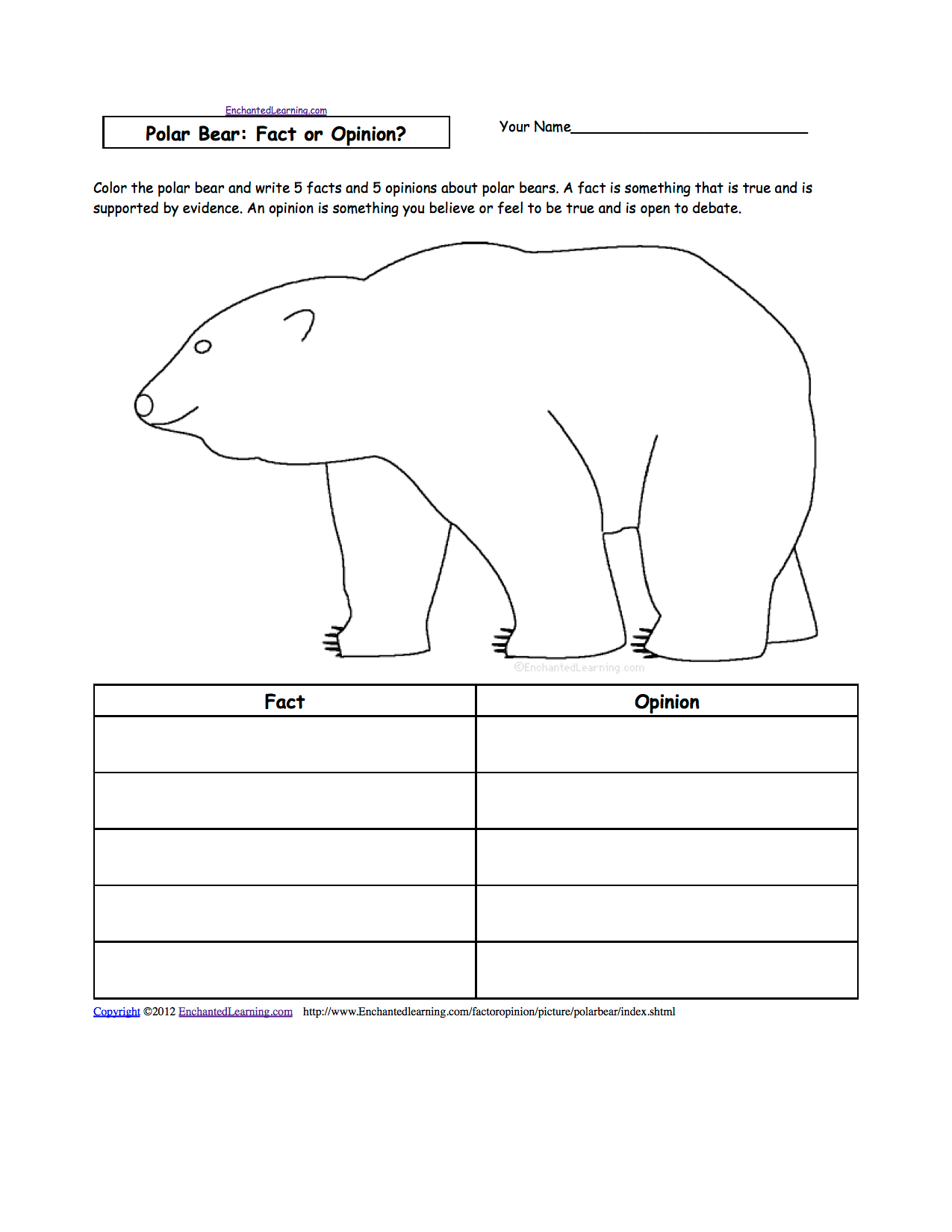 Week 16 Subject Polar Bears Facts And Opinions
