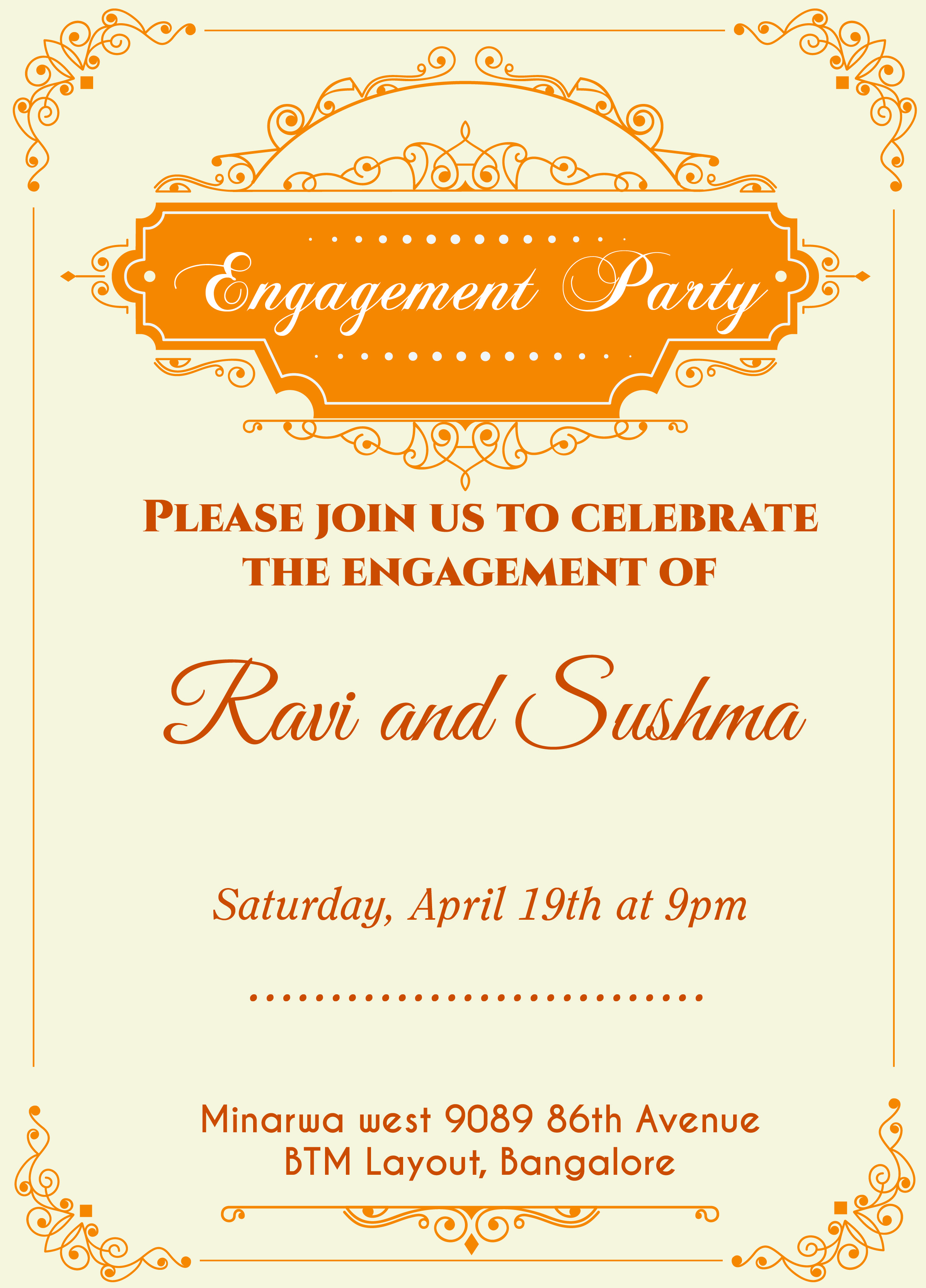 Indian Engagement invitation card with wordings Check it