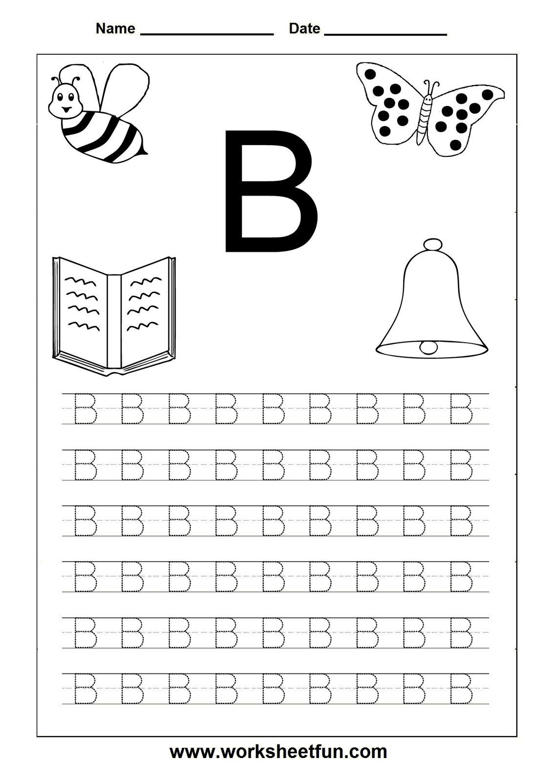 Tracing Worksheets For Letter B School