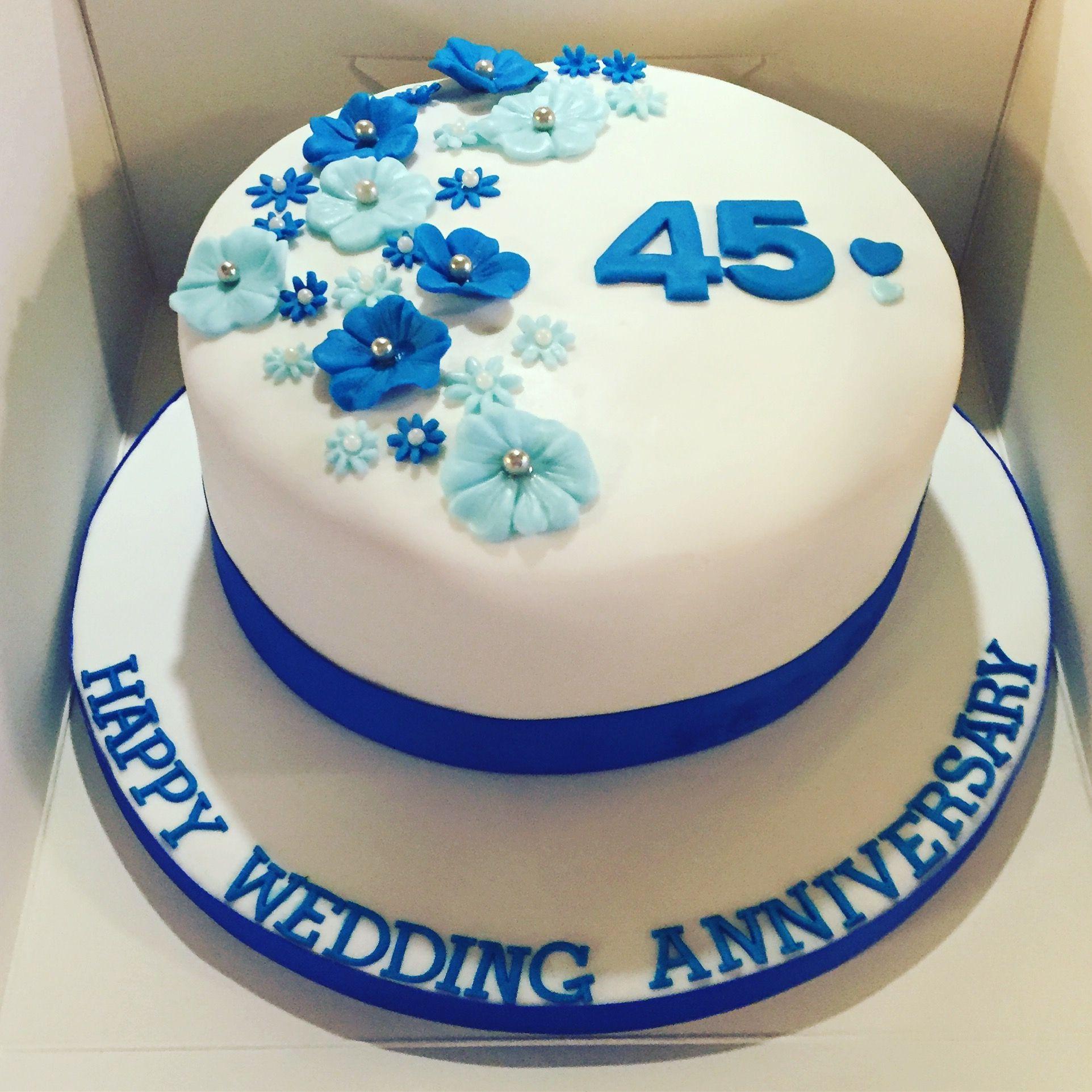 45th wedding anniversary cake blueflowers