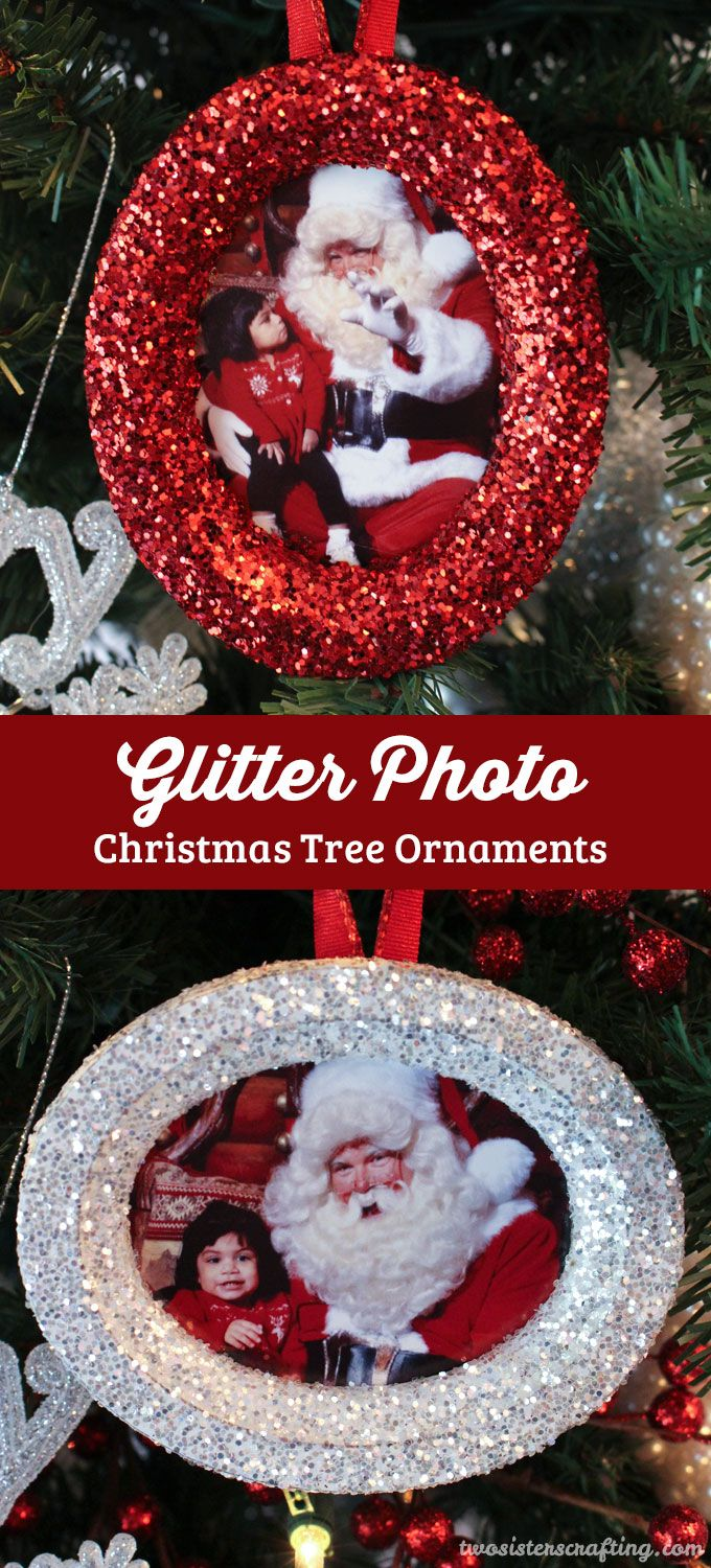 Glitter Photo Christmas Tree Ornaments Picture frame