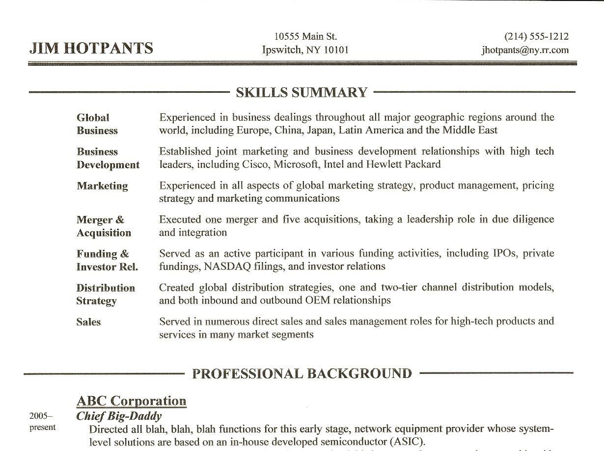 Skills Summary On Resume Sample Resume Center