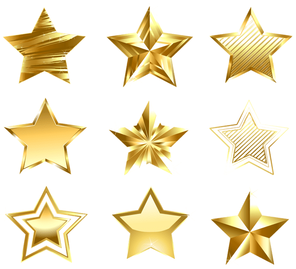 Transparent Golden Stars Set PNG DECORATIVE ELEMENTS PNG