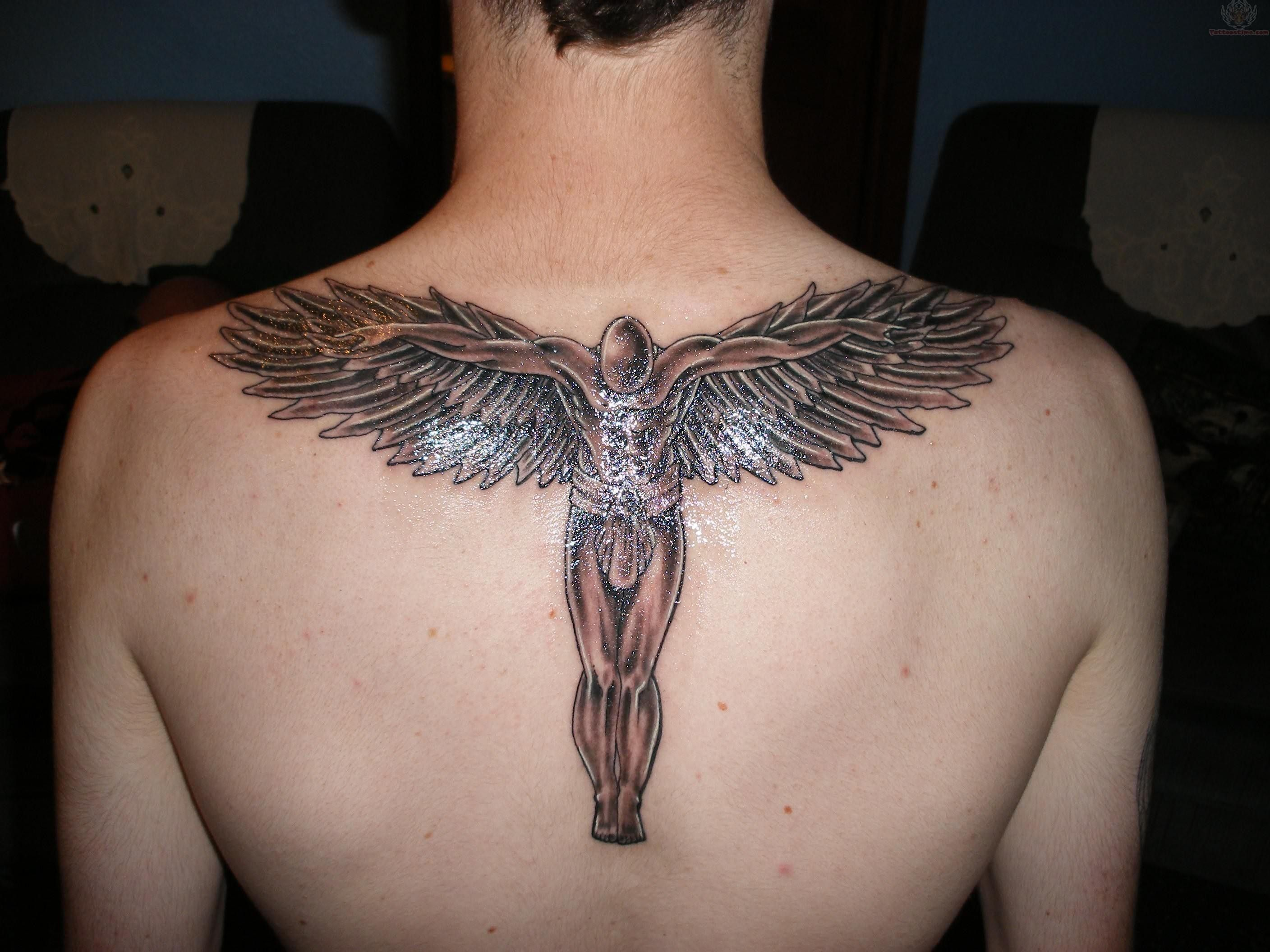 Back Male Angel Tattoo Design For Men http