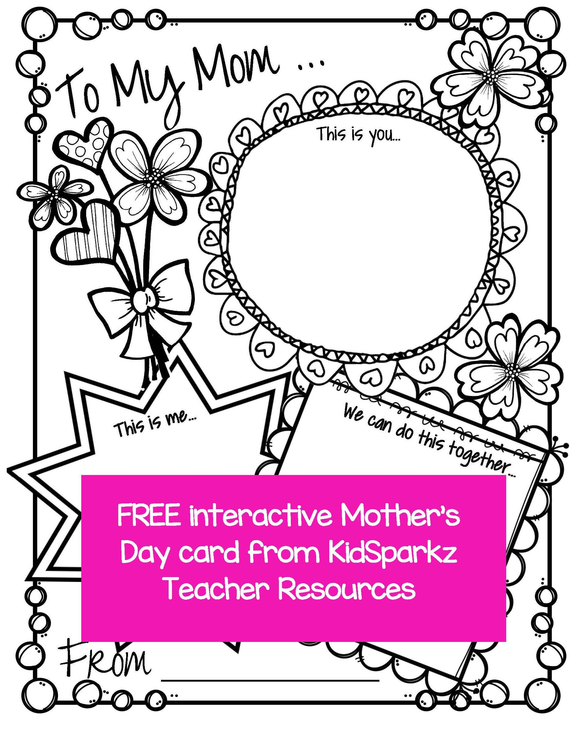 Mother S Day Printable Activity Card Full Page That Can