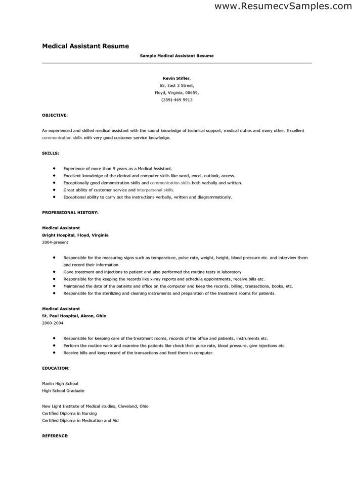 resume objective medical assistant sample resumes sample resumes
