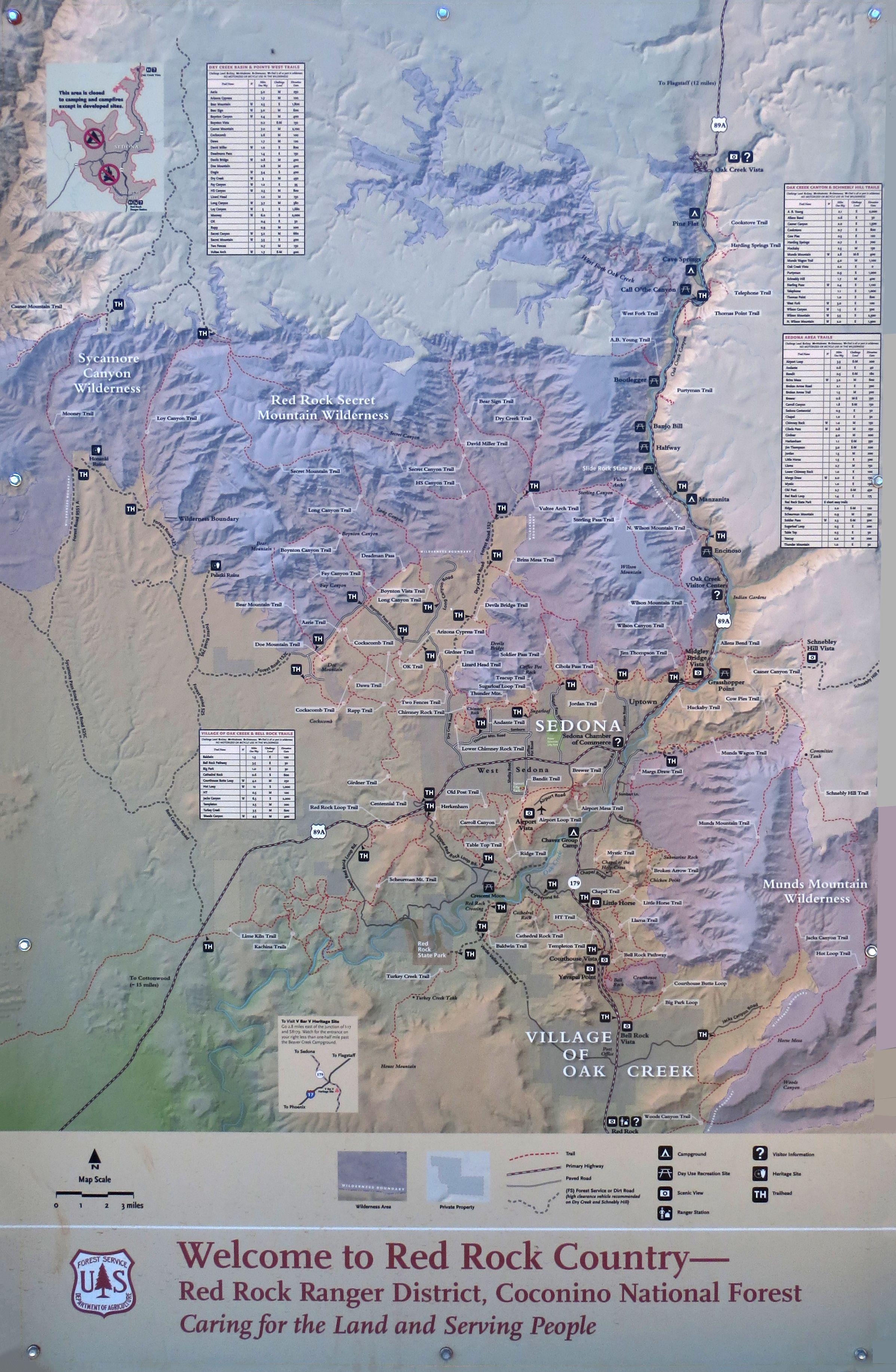 Sedona Hiking Trail Map Hiking Pinterest