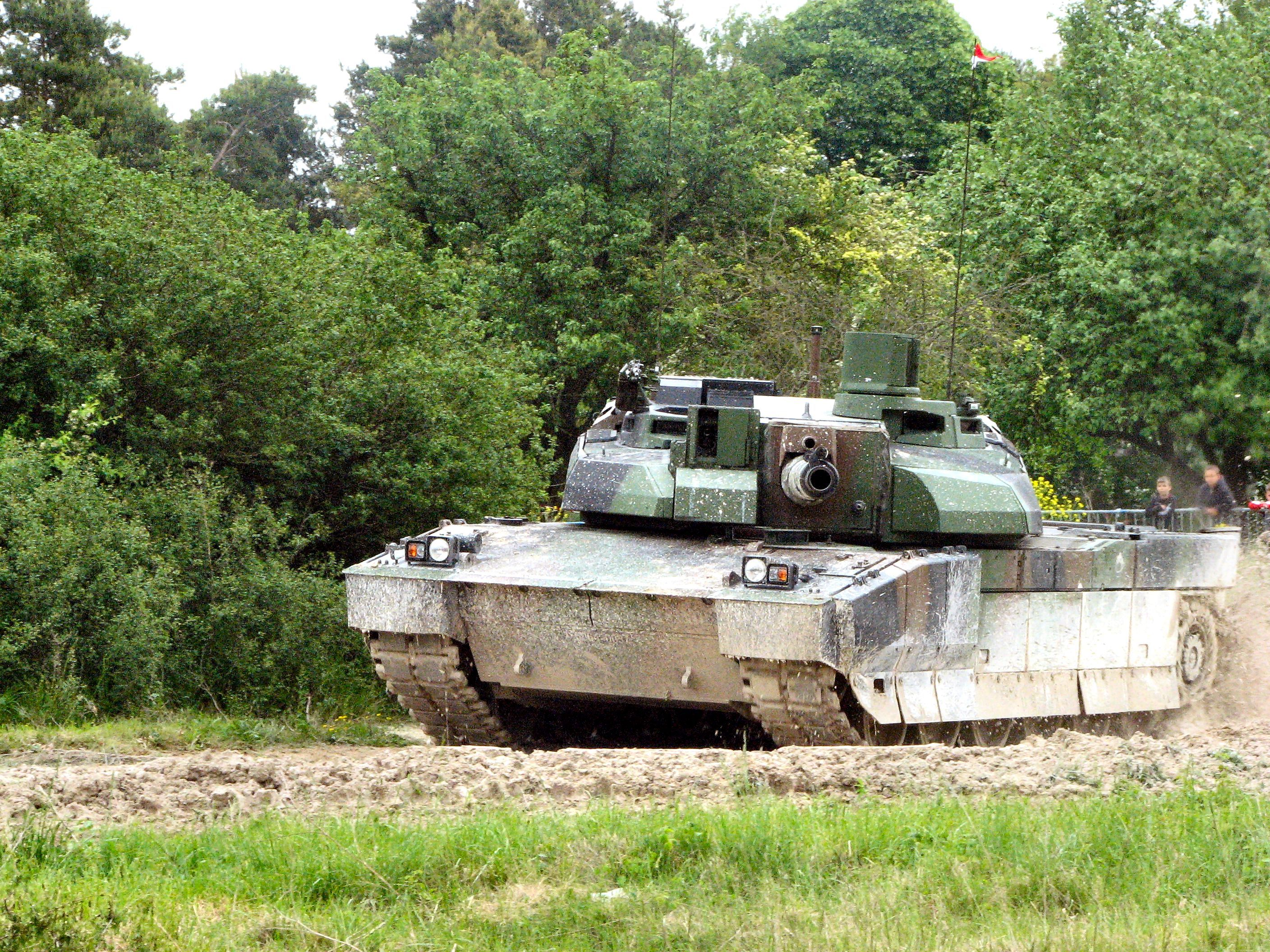 AMX Leclerc main battle tank during public demonstration