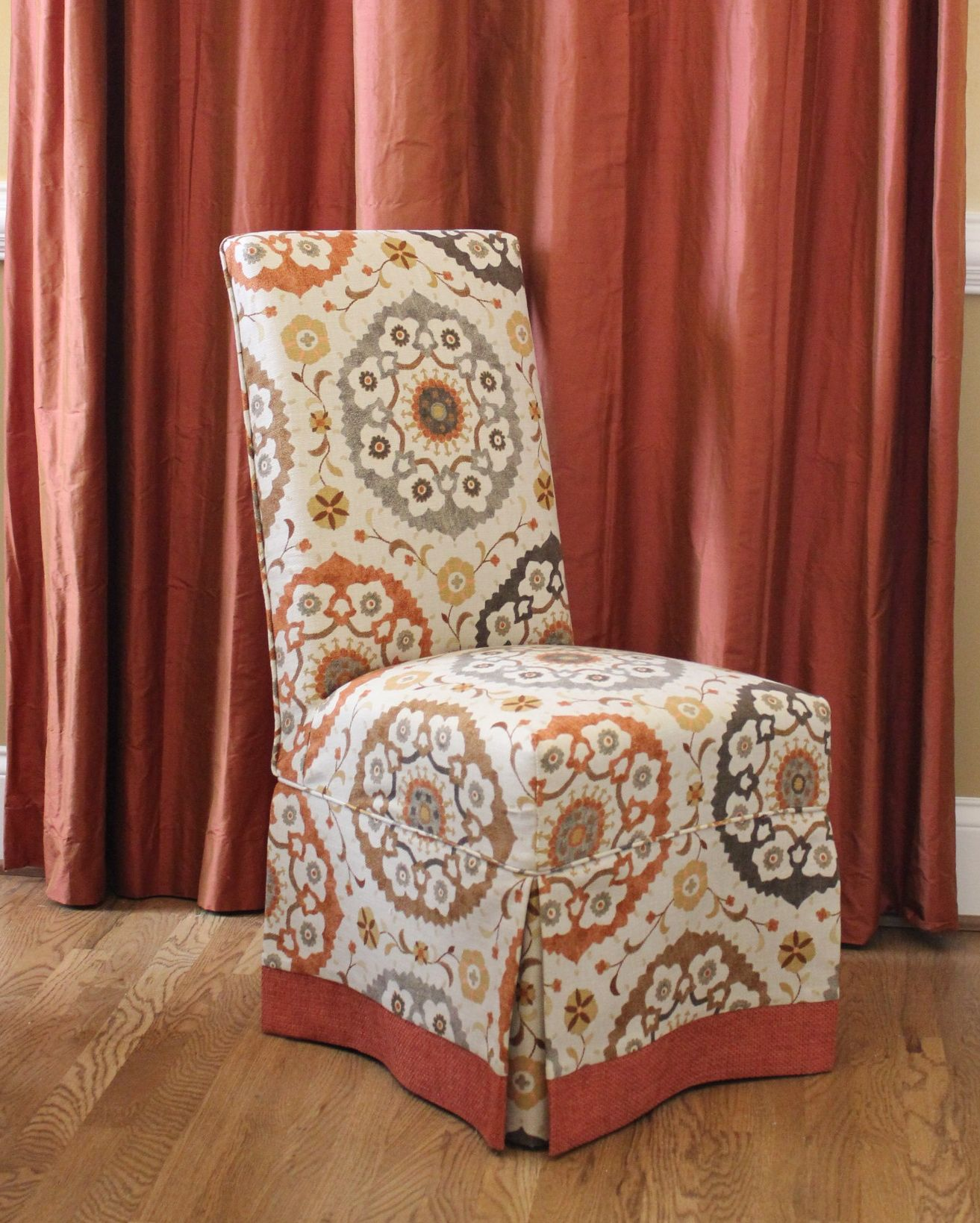 Parson Chair Slipcovers with Contrast Banding, design by