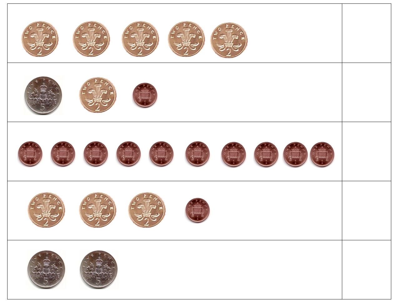 Simple Counting Money Worksheets For Adding Up Different Amounts Using A Range Of Coins