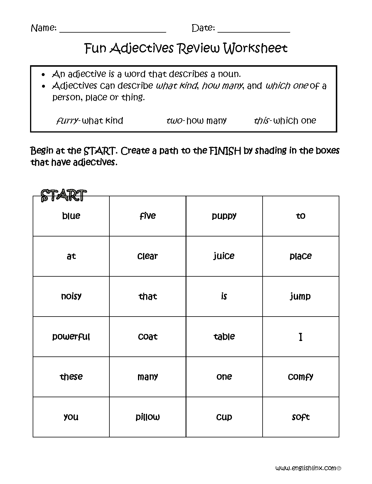 Fun Adjectives Review Worksheets