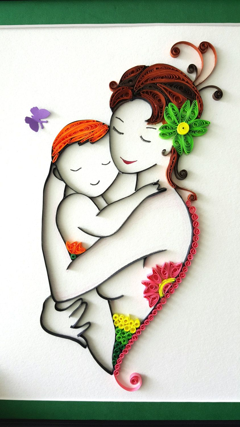 Paper quilled New Mother and baby, son, child wall art
