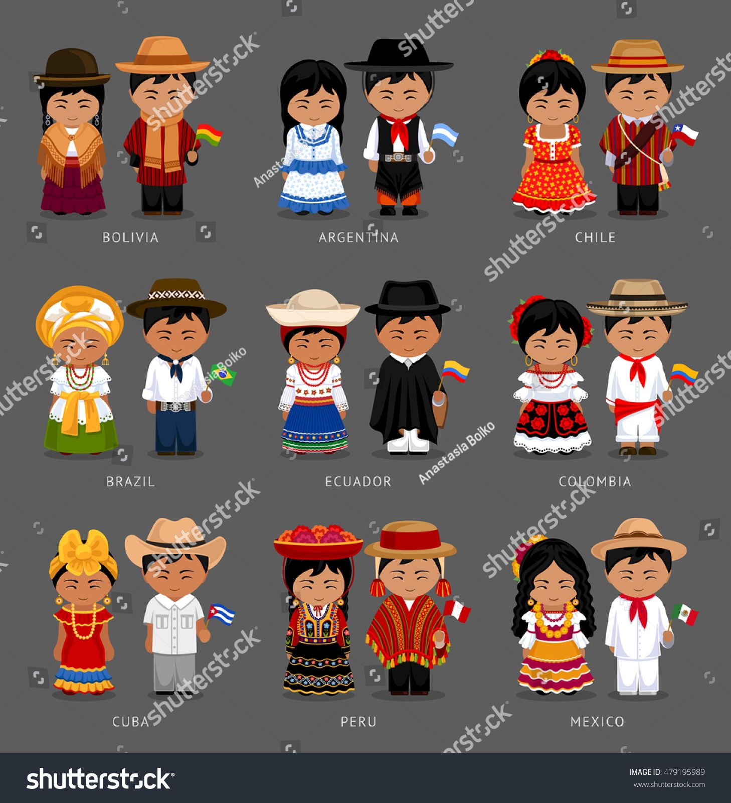 People In National Dress Bolivia Argentina Chile Brazil Ecuador Colombia Cuba Peru