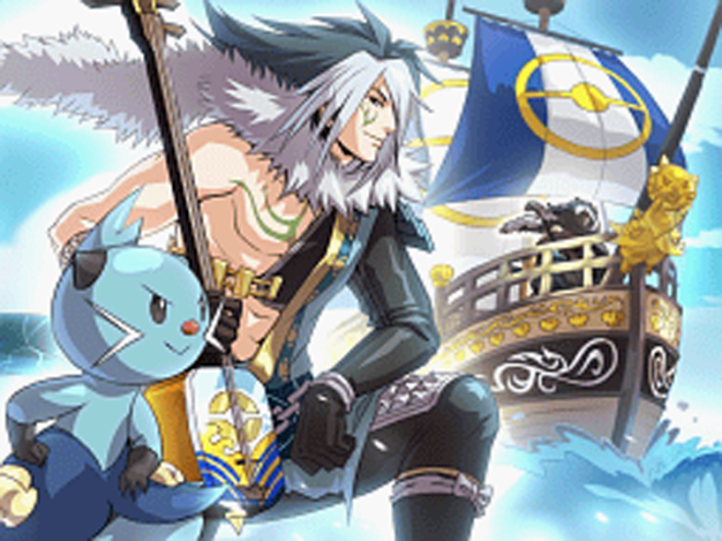 A white-and-black haired male warrior, dressed in ceremonial naval attire and alongside an otter-like Dewott. These images are superimposed on the image of a sailing ship with a figurehead styled after a Dewott.